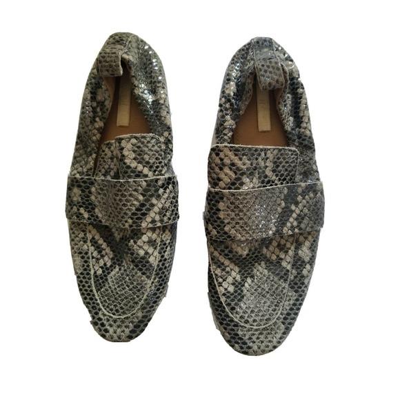 H&M Snakeskin Loafers women 7 Slip-on Flats Animal Print 37